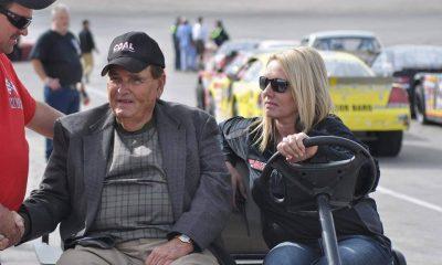 Kingsport track owner Joe Loven (left) and GM/promoter Karen Tunnell (right) at Kingsport Speedway.