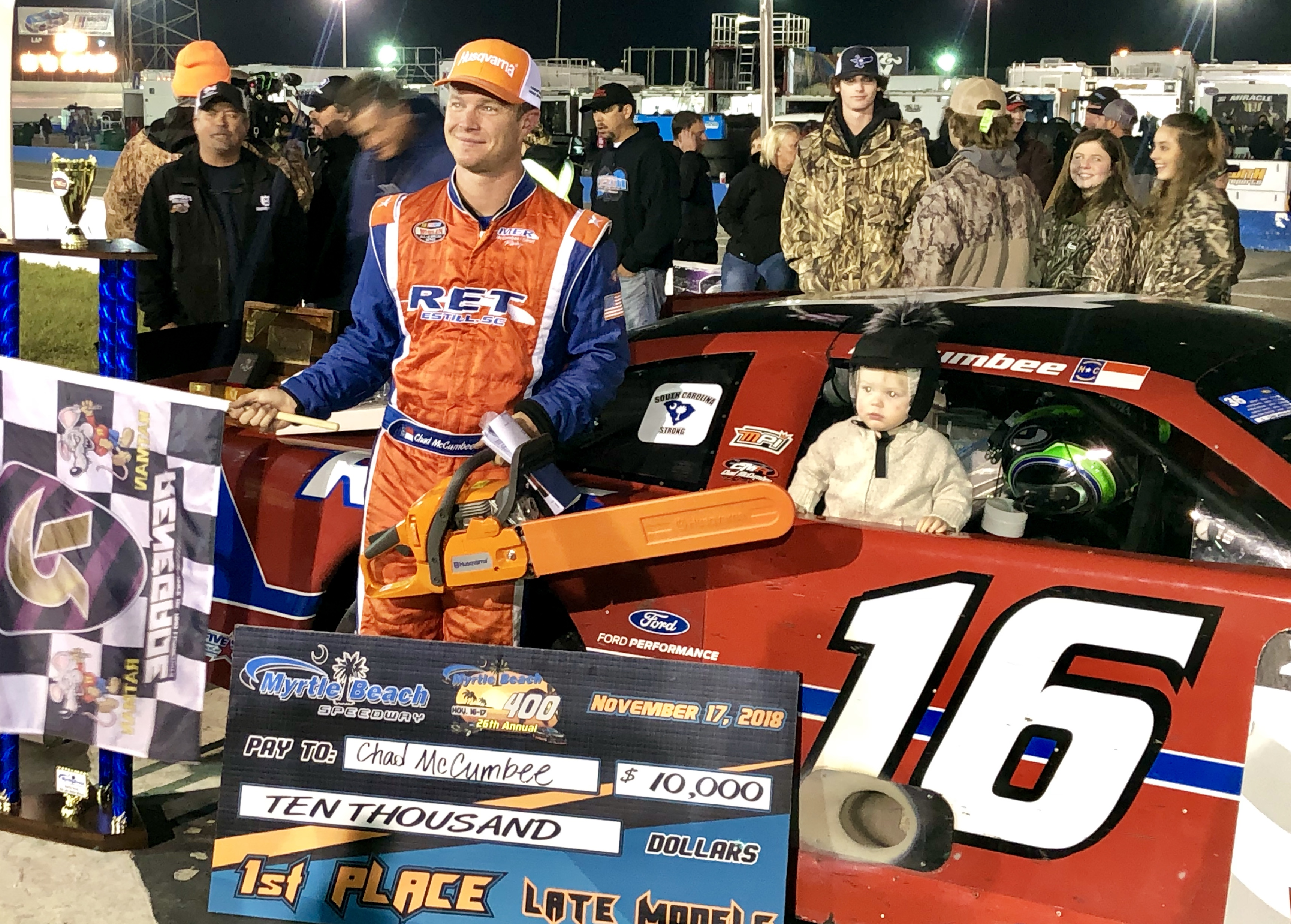 Chad McCumbee's maiden victory in the prestigious Myrtle Beach 400 on Saturday night was anything but uneventful.